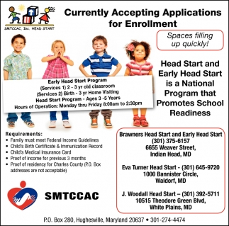 Currently Accepting Applications For Enrollment Smtccac Inc