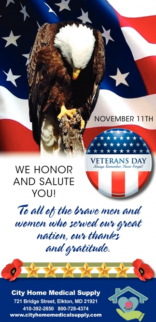 We Honor and Salute you!