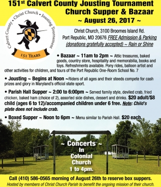 151 Calvert County Jousting Tournament Church Supper And Bazzar