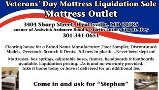 Veteran's Day Mattress Liquidation Sale