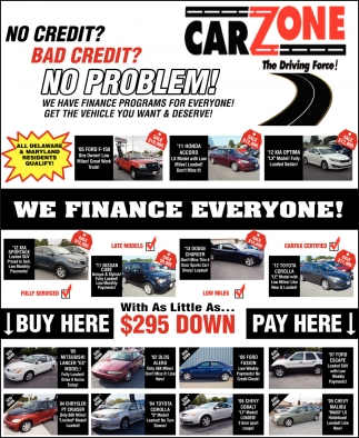 Ads For Carzone In Dover De We Finance Everyone