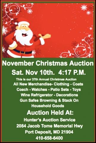 November Christmas Auction, Hunter\'s Auction Service, Inc, Port ...