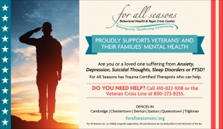 Proudly Supports Veterans For All Season Behavioral Health Rape