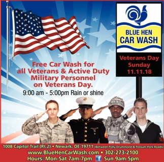 Free Car Wash for All Veterans & Active Duty Military Personnel