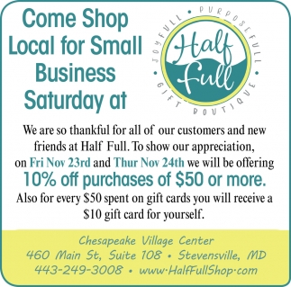 Coe Shop Local for Small Business Saturday
