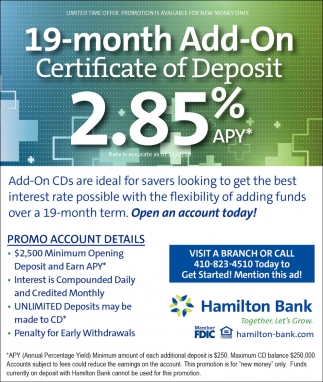 19-Month Add-On Certificate of Deposit