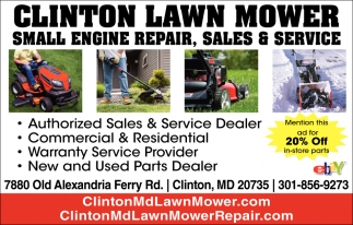 Small Engine Repair, Sales & Service, Clinton Lawn Mower