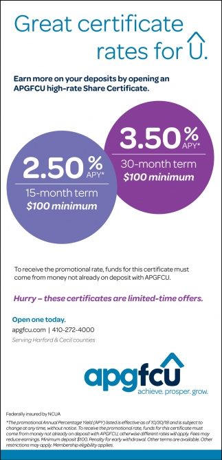 Great Certificate Rates for U