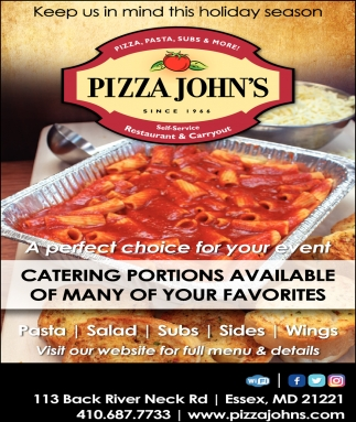 Catering Portions Available of Many of Your Favorites