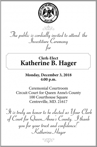 Clerk-ElectKatherine B  Hager, Circuit Court for Queen Anne's County