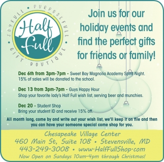 Join Us for Our Holiday Events