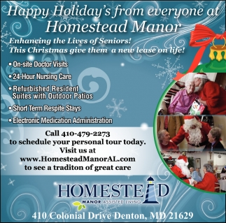 Happy Holiday's from Everyone at Homestead Manor