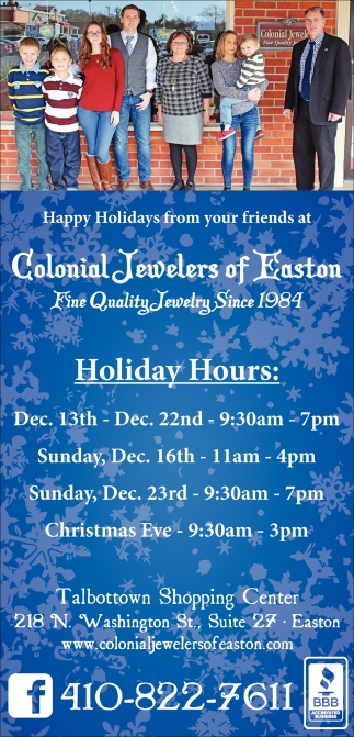 Fine Quality Jewelry, Colonial Jewelers of Easton, Easton, MD