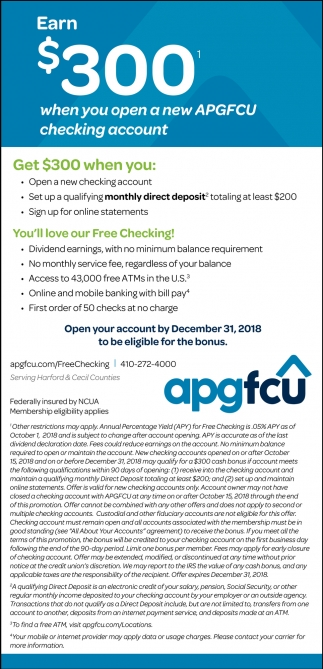 Earn $300 When You Open a New APGFCU Checking Account