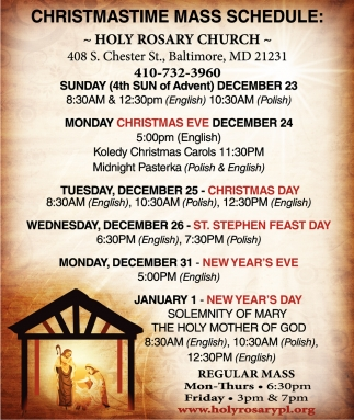 Christmastime Mass Schedule