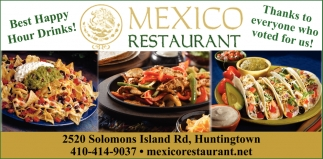 Best Happy Hour Drinks Mexico Restaurant Huntingtown Md
