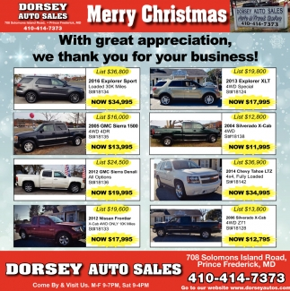 Prince Auto Sales >> Merry Christmas Dorsey Auto Sales Prince Frederick Md