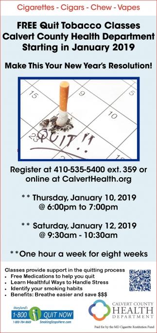 Free Quit Tobacco Classes