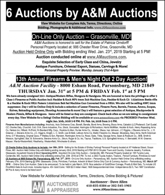 6 Auctions By A&M Auctioneers