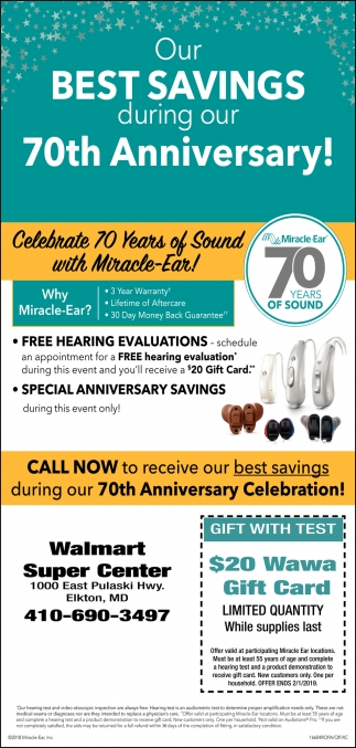 Our Best Savings During Our 70th Anniversary