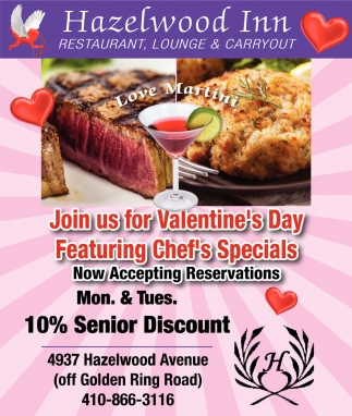 Join Us for Valentine's Day Featuring Chef's Specials