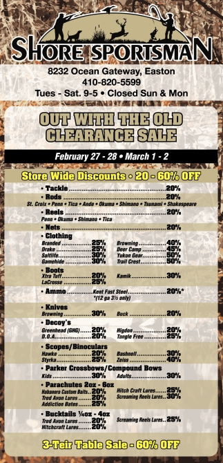 Out with the Old Clearance Sale