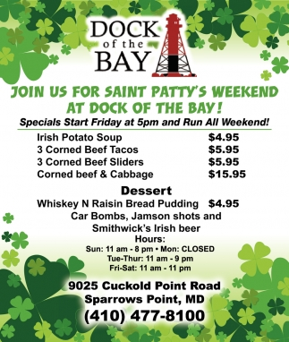 Join Us for Saint Patty's Weekend at Dock of the Bay