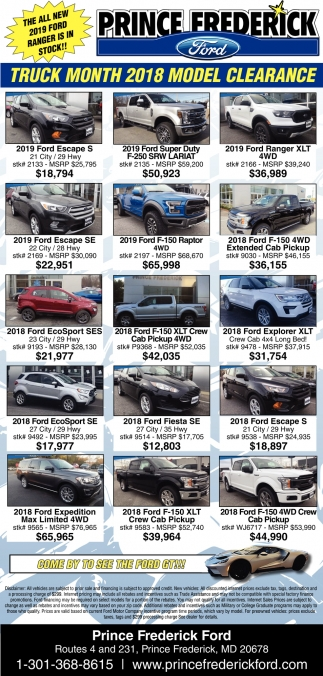 Truck Month 2018 Model Clearance