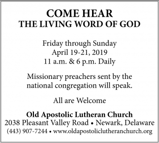 Come Hear The Living Word of God