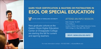 Earn Your Certification And Masters Or Post Masters In ESOL Or ...