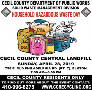 Household Hazardous Waste Day, Cecil County Department of