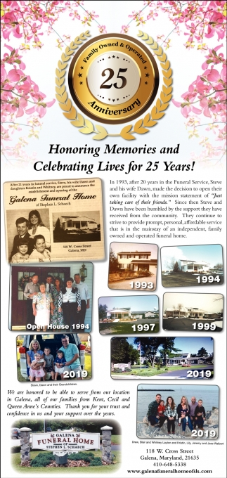 Honoring Memories and Celebrating Lives for 25 Years