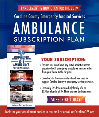 2019 Ambulance Subscription Plan