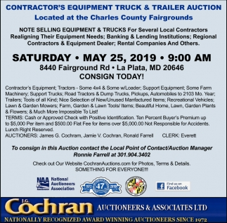 Contractor's Equipment Truck & Trailer Auction