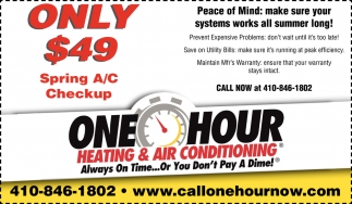Only $49 Spring A/C Checkup