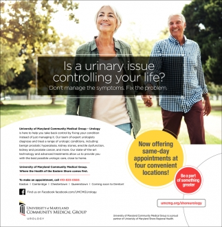 Is a Urinary Issue Controling Your Life?