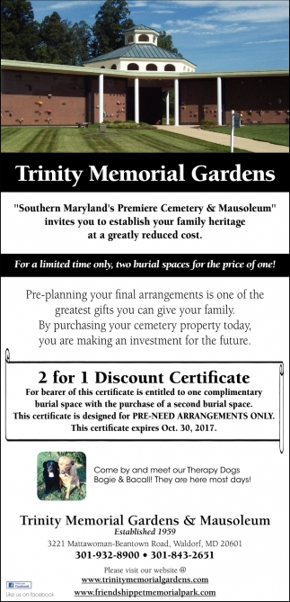 For A Limited Time Only, Two Burial Spaces For The Price Of One!, Trinity  Memorial Gardens