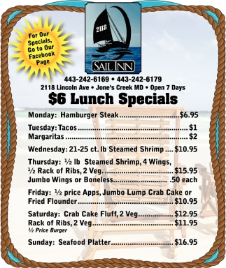 $6 Lunch Specials