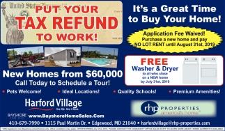 Put Your Tax Refund to Work, Harford Village - Bay Shore