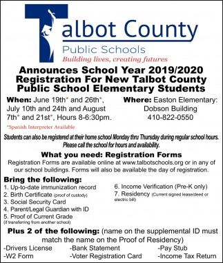 School Year 2019/2020 Registration