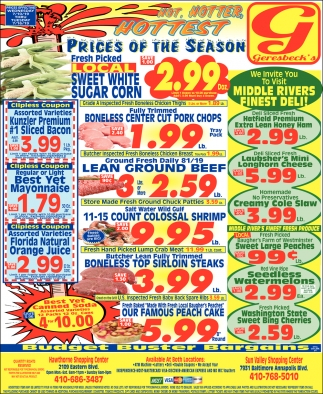 Prices of the Season