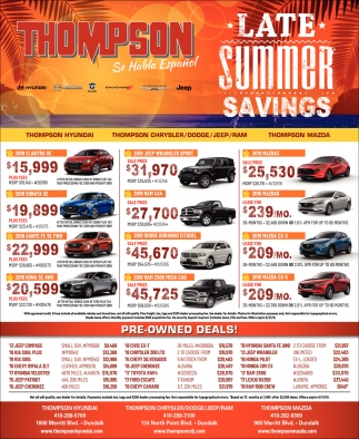 Late Summer Savings