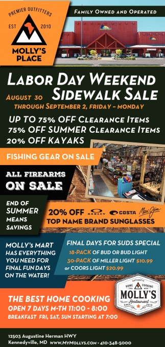 Labor Day Weekend Sidewalk Sale