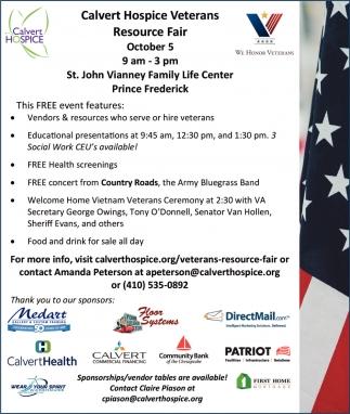 Calvert Hospice Veterans Resource Fair