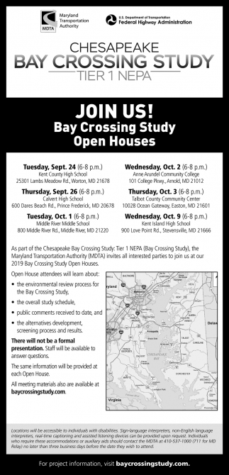 Bay Crossing Study Open Houses