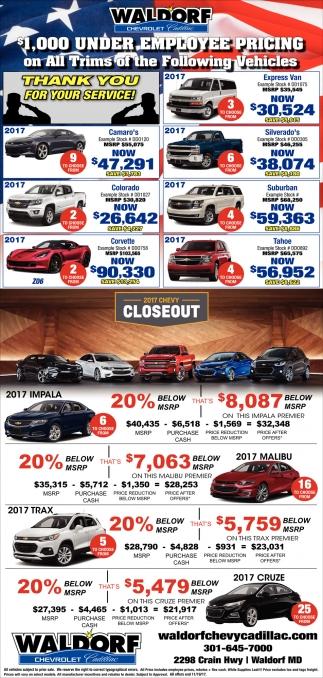 $1,000 Under Employee Pricing, Waldorf Chevrolet Cadillac