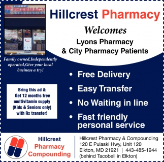 Welcomes Lyons Pharmacy Patients, Hillcrest Pharmacy