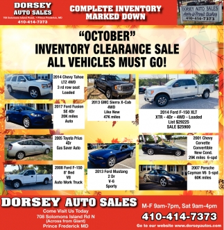 Prince Auto Sales >> Inventory Clearance Sale Dorsey Auto Sales Frederick Md