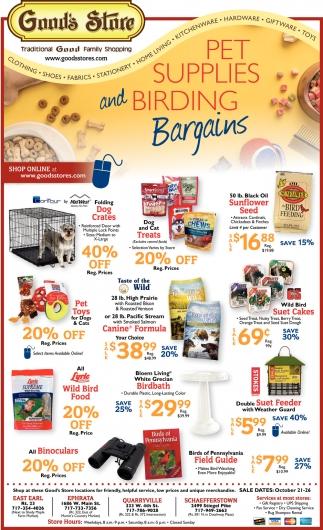 Pet Supplies and Birding Bargains