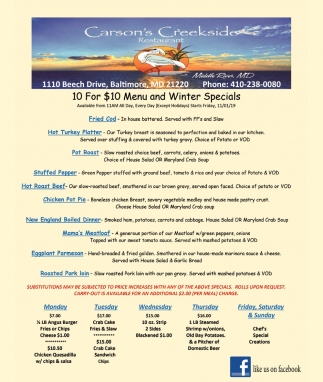 10 for $10 Menu and Winter Specials